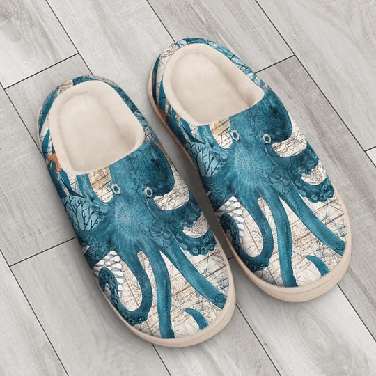 the blue octopus vintage all over printed slippers 3