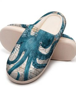 the blue octopus vintage all over printed slippers 5