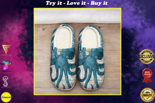 the blue octopus vintage all over printed slippers