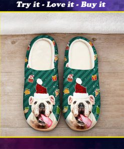 the bulldog with santa hat all over printed slippers