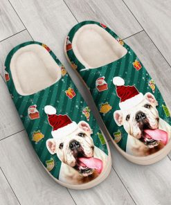 the bulldog with santa hat all over printed slippers 4