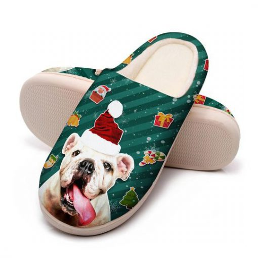 the bulldog with santa hat all over printed slippers 5