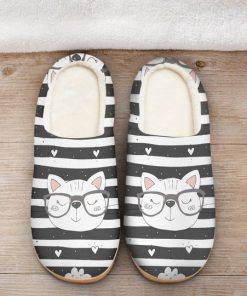 the cat with glasses all over printed slippers 2