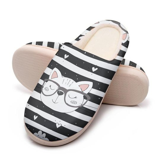 the cat with glasses all over printed slippers 5