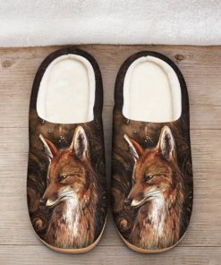 the fox in forest all over printed slippers 2