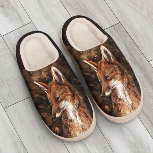 the fox in forest all over printed slippers 3