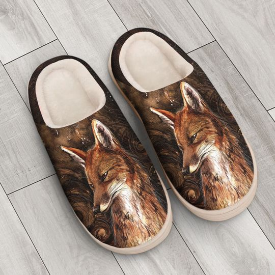 the fox in forest all over printed slippers 4