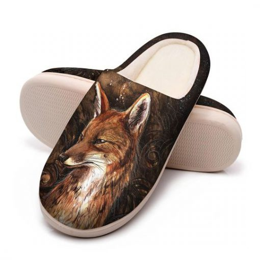 the fox in forest all over printed slippers 5