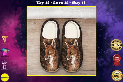 the fox in forest all over printed slippers