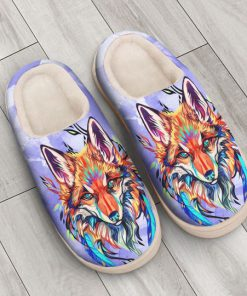 the fox watercolor all over printed slippers 2