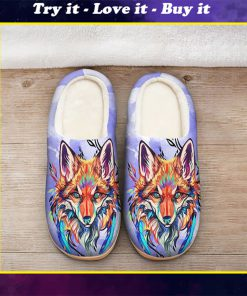 the fox watercolor all over printed slippers