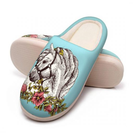 the horse floral version all over printed slippers 2