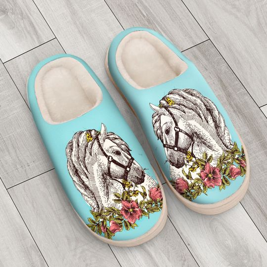 the horse floral version all over printed slippers 4
