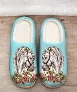 the horse floral version all over printed slippers 5