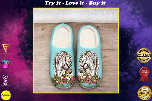 the horse floral version all over printed slippers