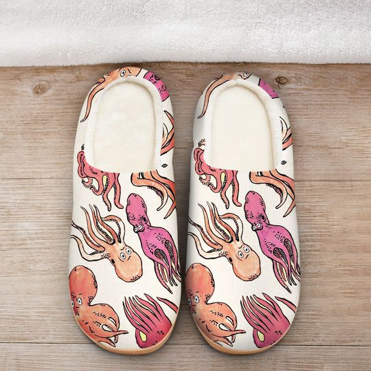 the octopus pink all over printed slippers 2