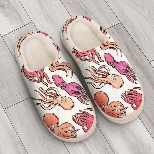 the octopus pink all over printed slippers 4