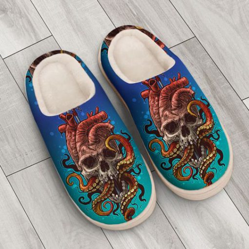 the octopus with death skull all over printed slippers 3