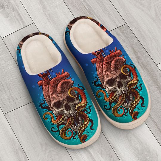 the octopus with death skull all over printed slippers 4