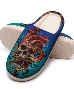the octopus with death skull all over printed slippers 5