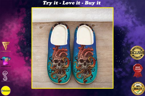 the octopus with death skull all over printed slippers