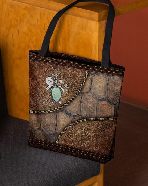 turtle lovers leather pattern all over print tote bag 3