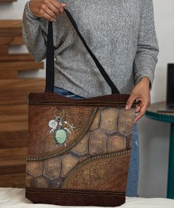turtle lovers leather pattern all over print tote bag 4