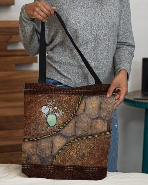 turtle lovers leather pattern all over print tote bag 5