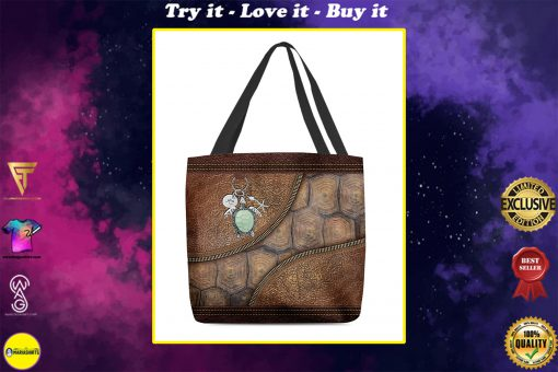 turtle lovers leather pattern all over print tote bag