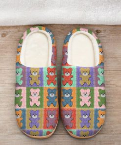 vintage baby bear colorful all over printed slippers 2