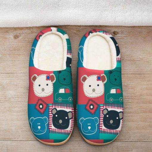 vintage bear colorful all over printed slippers 2