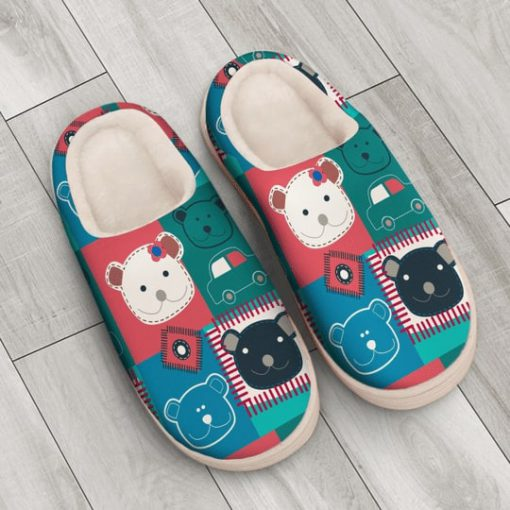 vintage bear colorful all over printed slippers 3