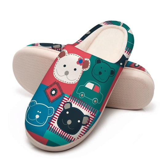 vintage bear colorful all over printed slippers 5