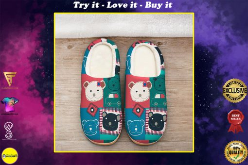 vintage bear colorful all over printed slippers
