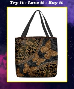 vintage butterfly leather pattern all over print tote bag