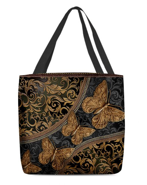 vintage butterfly leather pattern all over print tote bag 4