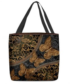 vintage butterfly leather pattern all over print tote bag 5