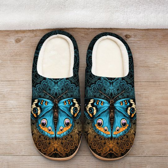 vintage butterfly mandala all over printed slippers 2