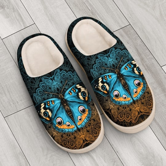 vintage butterfly mandala all over printed slippers 4