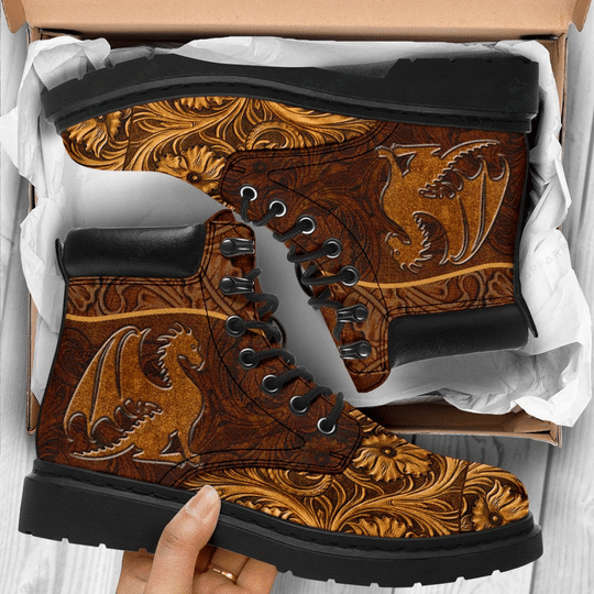 vintage dragon all over printed winter boots 1