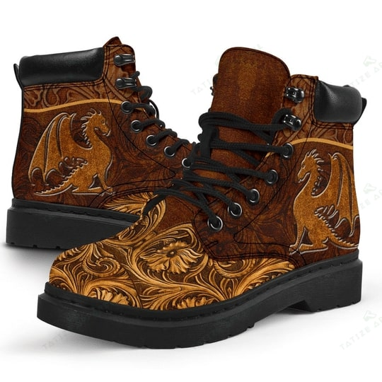 vintage dragon all over printed winter boots 3