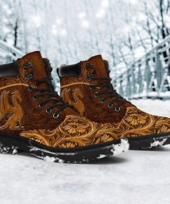 vintage dragon all over printed winter boots 4