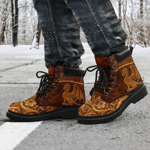 vintage dragon all over printed winter boots 5