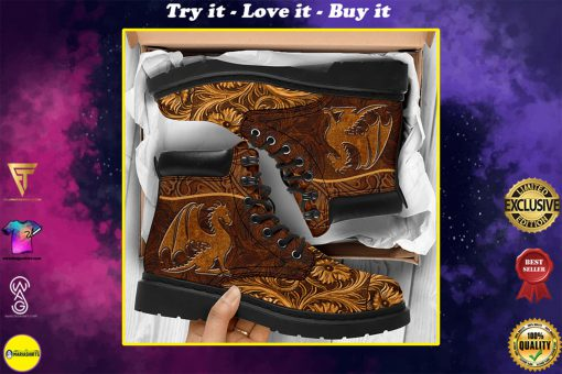 vintage dragon all over printed winter boots