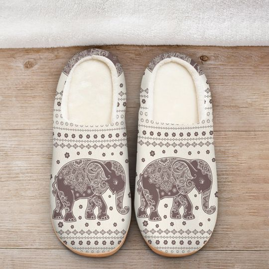 vintage elephant mandala all over printed slippers 2