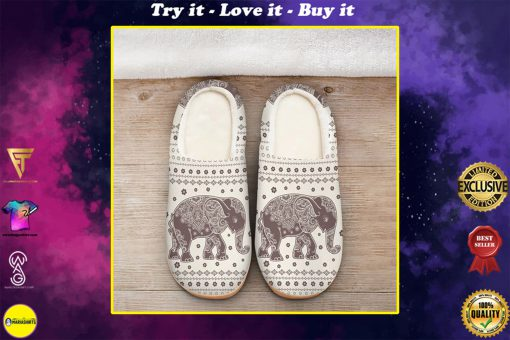vintage elephant mandala all over printed slippers