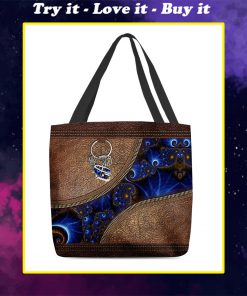 vintage hippie soul leather pattern all over printed tote bag
