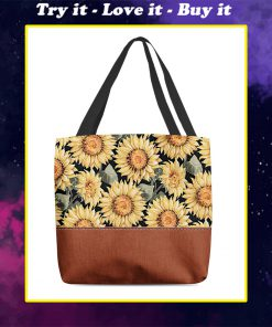 vintage love sunflowers all over printed tote bag