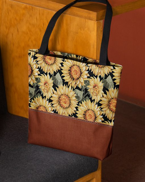 vintage love sunflowers all over printed tote bag 3