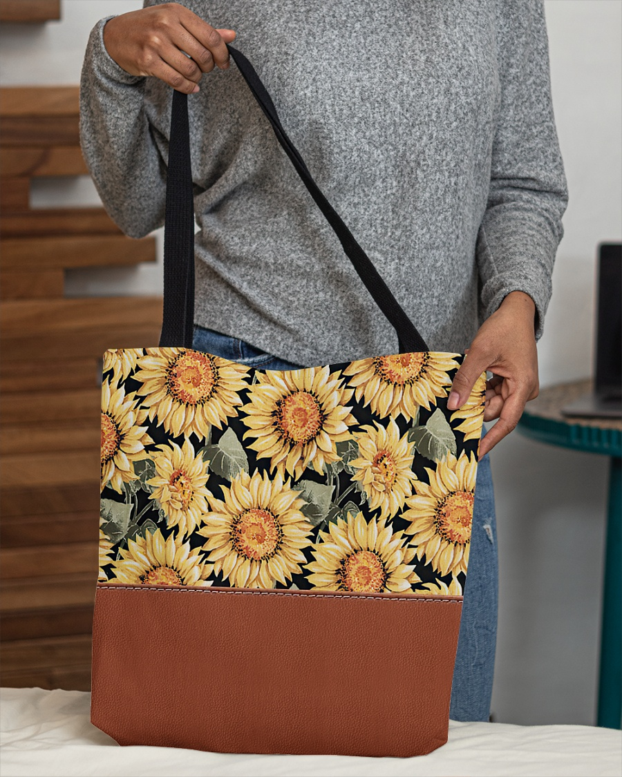vintage love sunflowers all over printed tote bag 4